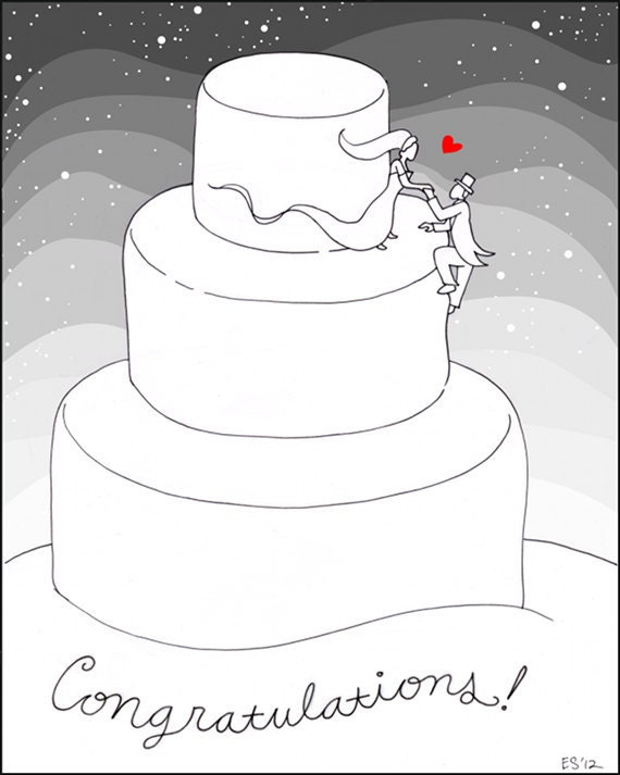 Winter Wedding Card, Congratulations, Engagement, Blank 5x7 Greeting Card, Bride and Groom on Wedding Cake