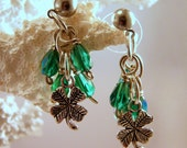 4 Leaf Clover Surgical Steel Earrings with Green Crystal Drops