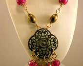 Victorian Brass Cherry Crystal Steampunk Styled Necklace