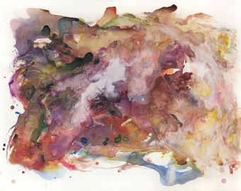 Almacantar III / Giclee print / multiple sizes / universe / abstract watercolor painting / blush / rose / golden / contemporary art / nebula