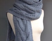 Cable hand knitted scarf in gray - made to order