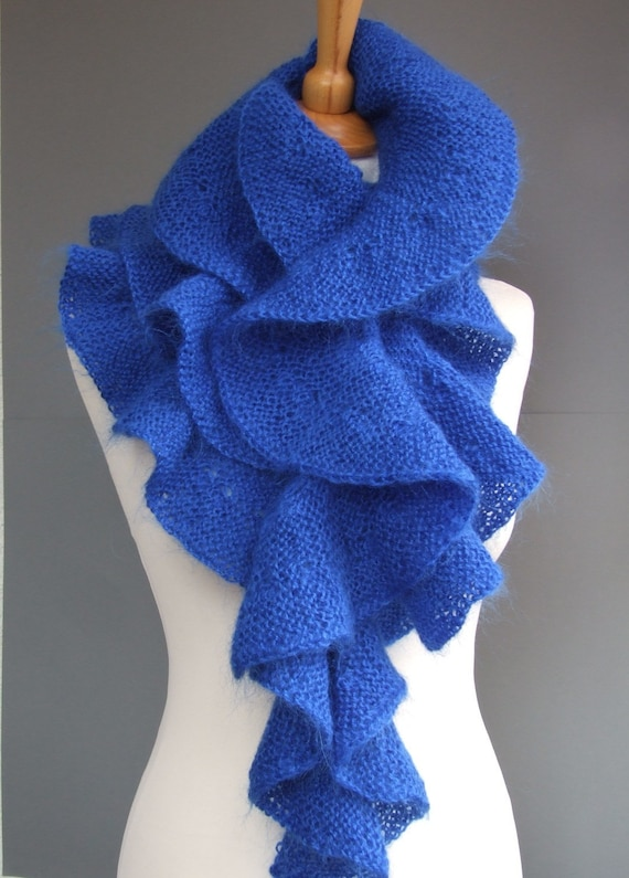 Blue scarf hand knitted of mohair yarn