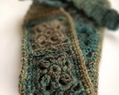 Crochet Headband - Wool Mix Greys & Teals