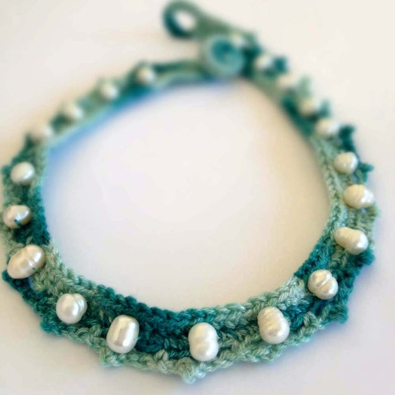 Fresh Water Pearls and Teal, Aquamarine, Silk Yarn Crochet Choker