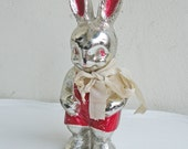 Vintage Rabbit Figurine Toy Irwin Doll Easter Bunny Plastic Rattle Decoration Metallic Silver and Red Rattle with Bow Ornament
