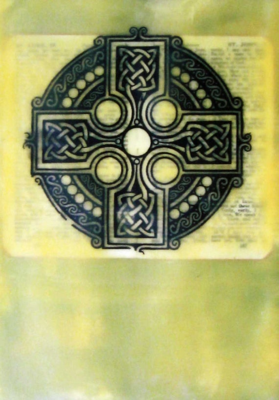 Christian Home Decor Old Bible Book Page Knotted Cross Collage Encaustic Print