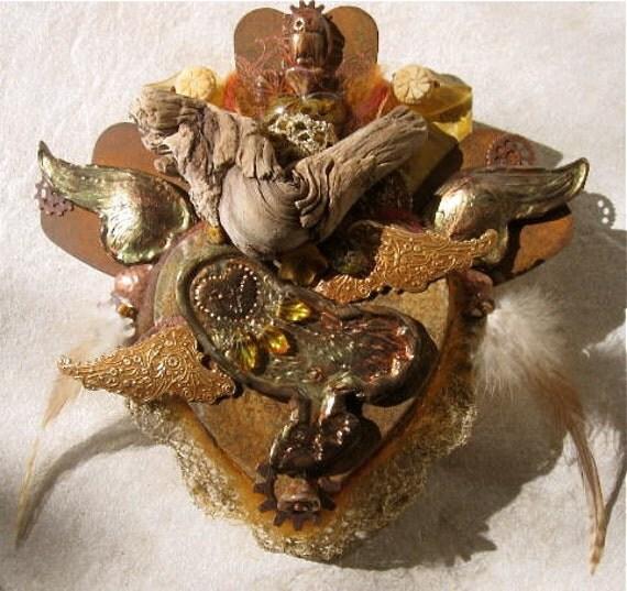barn owl's quiet heart   -   mixed media mosaic shrine