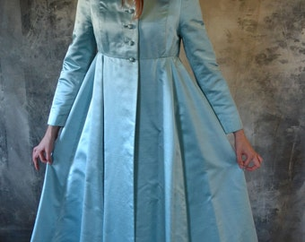 1960's Mad Men Robins Egg Blue Satin Dress Coat