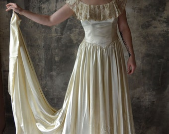 1940's Ivory Silk and Mesh Wedding Dress with Fabulous Train