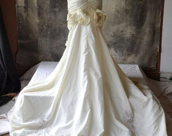 Wild 80's Wedding Dress Fish Tail train and Pearl Beading