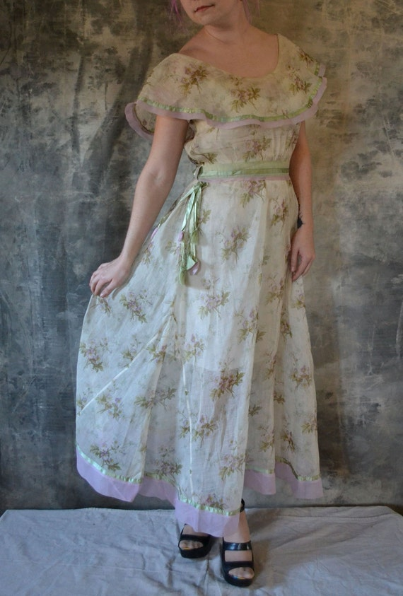 Vintage Romantic 1900's Lavender & Sage Organza Gown HOLD for Samantha