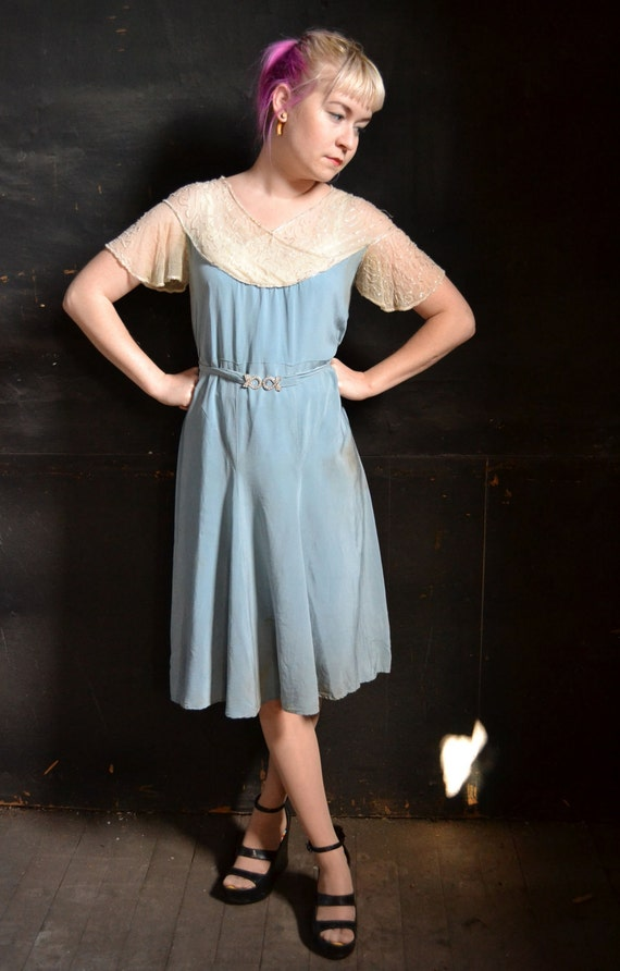 RESERVED LEAH 1920's Sky Blue Beaded Silk Dress