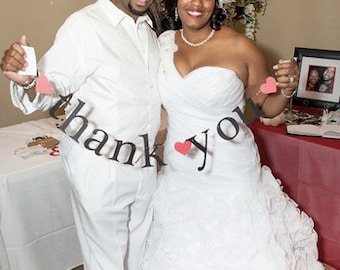 mr & mrs AND thank you banners.  Ships Priority.  Bridal Shower.  Wedding Decorations.  Photo Prop.  5280 Bliss.