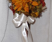 Reserved for azlivin64 ... Sunflower and Acorn Bouquet Brown and Ivory Satin Ribbons