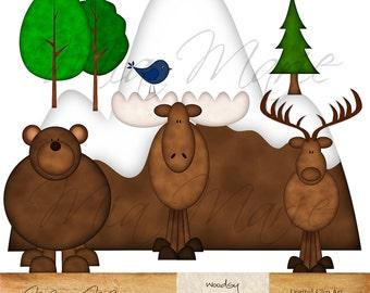INSTANT DOWNLOAD - Digital Clip Art - Bear Clipart, Bear Clip Art, Moose Clipart, Moose Clip Art, Deer Clipart, Deer Clip Art, Bird Elk Tree