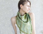 Green scarf baktus woodland, felted wool triagle OOAK, for her oht girl boho hippie fall autumn fashion