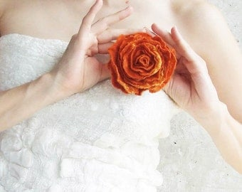 Christmas Gift For Wife, Felt Jewelry, Orange Rose Flower, Eco Jewelry, Winter Brooch, Orange Wedding Jewelry, Shabby Chic Brooch