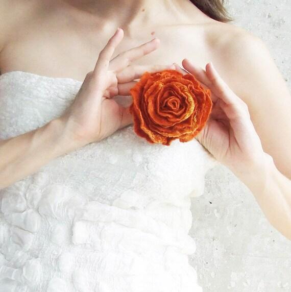 Christmas Gift For Wife, Felt Jewelry, Orange Rose Flower, Eco Jewelry, Winter Brooch, Orange Wedding Jewelry, Shabby Chic Brooch