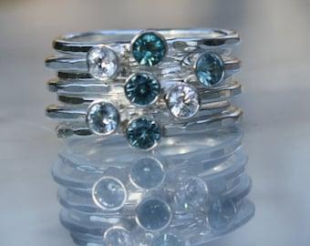 7 Gemstones, Birthstone Stacking Rings, Family & Mother's Rings, 7 Sterling Silver Skinny Rings with Gemstones, Birthstones, Custom made