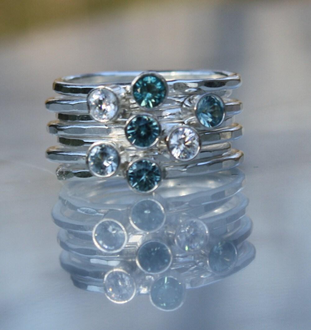 7 gemstones birthstone stacking rings family mother 39 s. Black Bedroom Furniture Sets. Home Design Ideas