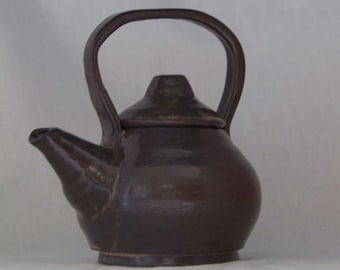 Brown Stoneware Teapot for two