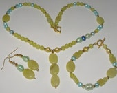 Jewelry, Necklace Set, New Jade, Pearl, Gold Beads, NS720. Handmade Jewelry by FireandIceCreations on Etsy.