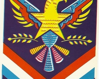 Native American Eagle Vintage Lithograph Broom Label, 1940's