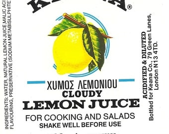 Keana Lemon Juice Vintage Large Label, 1940's