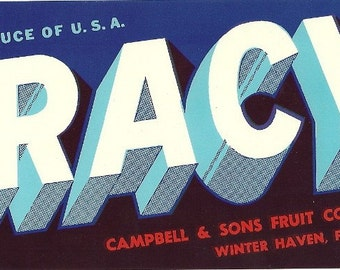 Tracy Vintage Crate Label, 1950's