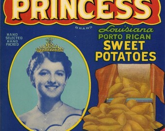 Princess Sweet Potatoes Vintage Crate Label, 1940's
