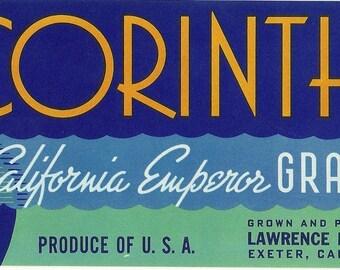 Corinthian Emperor Grapes Vintage Crate Label, 1950s
