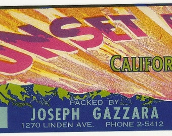 Sunset Brand Vintage Crate Label, 1920's