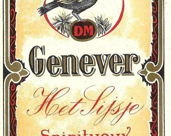 Genever Het Lijsje Spiritueux Vintage Label, 1940s