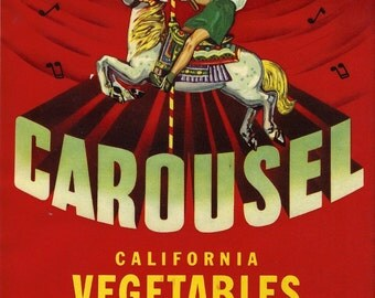 Carousel California Vegetables Crate Label, 1950s