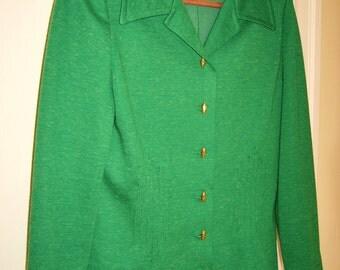 Vintage Leslie Fay Bright Green Knit Blazer with Diamond Stitching Sz sm/med