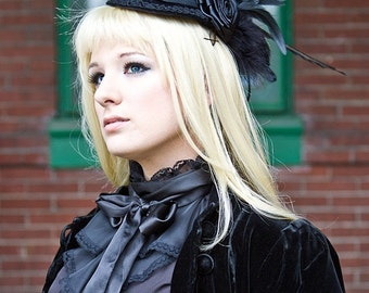 Velvet black cap goth steampunk
