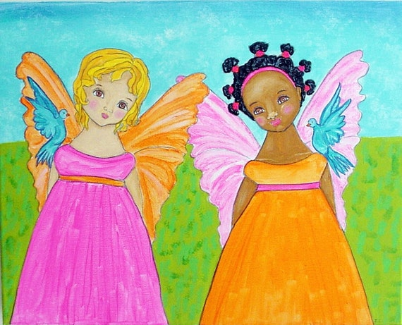 Half Off  SISTERS Black and White -African American and Caucasian- Guardian Angels Original Whimsical Folk Art Painting- on canvas