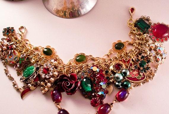 Victorian Christmas Repurposed Vintage Jewelry Tangled Mess Bracelet