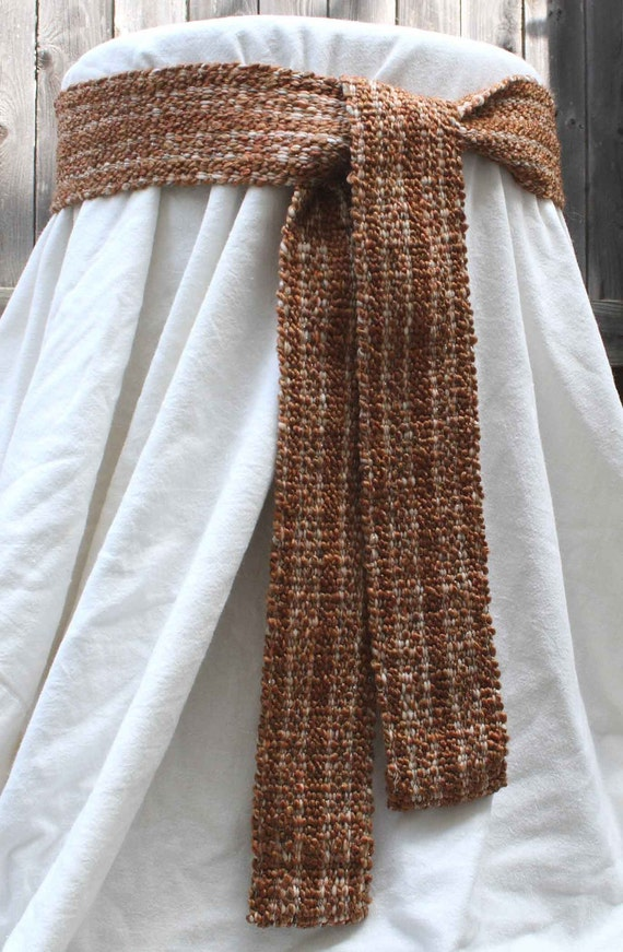 Belt - Soft Brown Sash - Plush Handwoven Inkle weaving