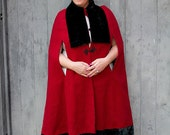 """carmine red textured wool and velvet swing cape """""""" ON SALE"""