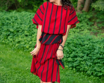 "ruby and black stripes """" sheer peplum dress """" ON SALE"
