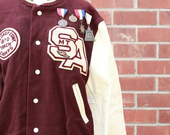 Vintage 60's Burgundy and Cream Letterman's Jacket with original patches and metals