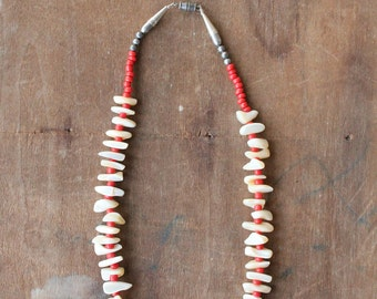 Handmade raw Mother of Pearl and coral necklace in sterling silver by Mountain Man
