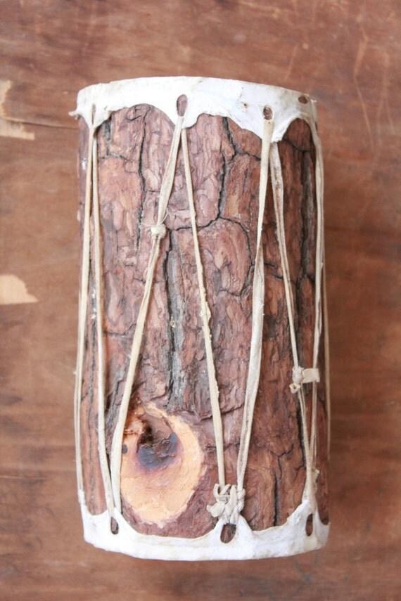 Vintage 70's decorative Native American Pine Drum