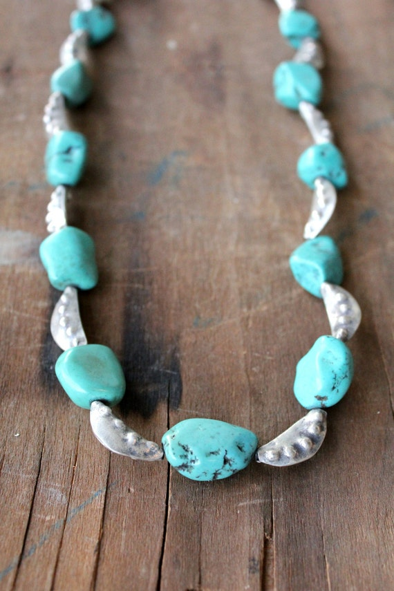 Handmade Vintage Raw Turquoise & Pounded Sterling Silver necklace by Mountain Man