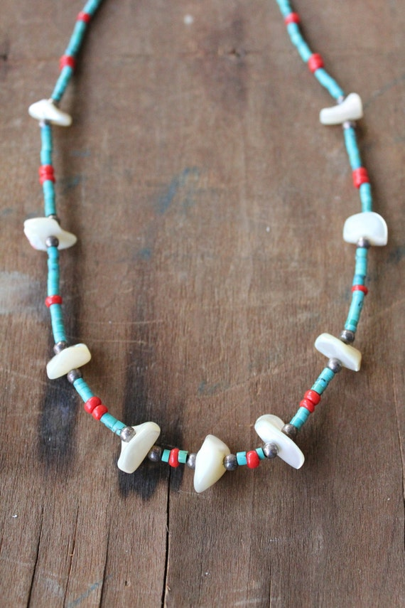 Handmade raw Mother of Pearl, turquoise, and coral necklace by Mountain Man