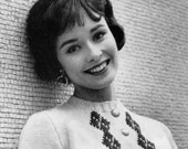 Women's 1960s Retro Trim-Fit Cropped Cardigan -- PDF KNITTING PATTERN