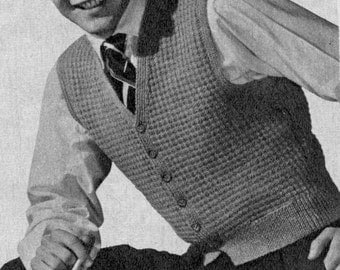 Men's Vintage Waistcoat -- Buttoned Front -- PDF KNITTING PATTERN