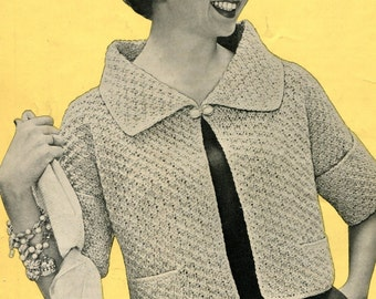Vintage Cropped Cardigan with Cuffed Sleeves and Textured Stitch  -- PDF KNITTING PATTERN