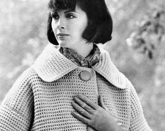Women's 1960s Retro Crochet Coat -- PDF CROCHET PATTERN